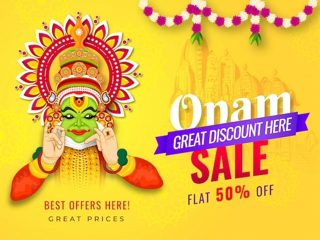 Conception de bannière ou d'affiche onam sale avec 50% de remise et illustration de la danseuse kathakali