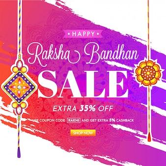 Conception de bannière ou affiche raksha bandhan sale.