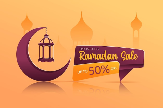 Conception de bannière d'annonces de vente ramadan
