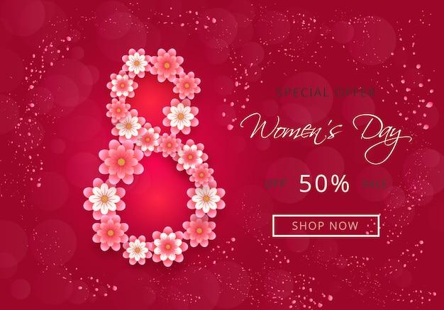 Conception de bannière attrayante pour la vente de jour pour femme avec des fleurs coupées en papier et rose