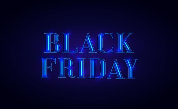 Conception de bannière black friday avec néon. couleur bleue.