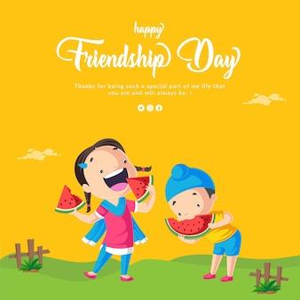 Conception de bannière de bonne fête de l'amitié avec des enfants mangeant de la pastèque