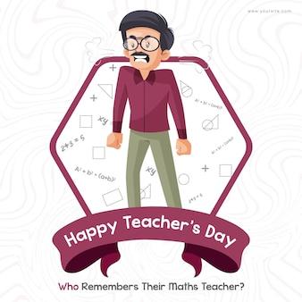Conception de bannière de bonne journée des enseignants avec un professeur de mathématiques