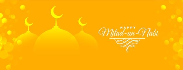 Conception de bannière brillante jaune milad un nabi