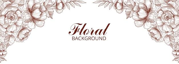 Conception de bannière de cadre floral décoratif moderne