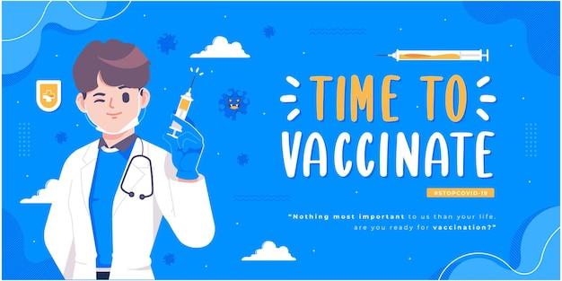 Conception de bannière de campagne de vaccination contre les virus