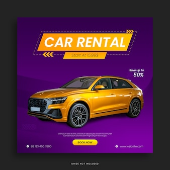 Conception de bannière carrée pour les médias sociaux de location de voitures