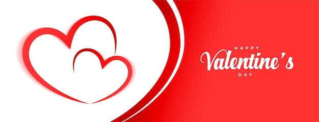 Conception de bannière de coeurs heureux saint valentin