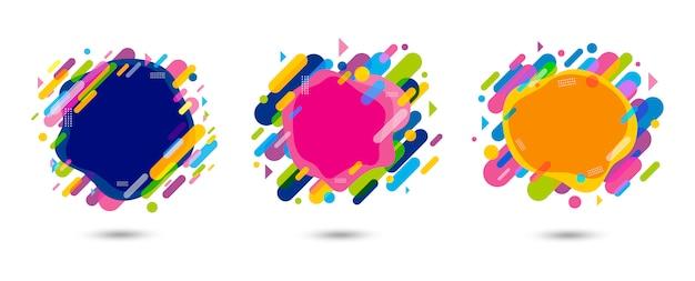 Conception de bannière colorée abstraite sur fond blanc