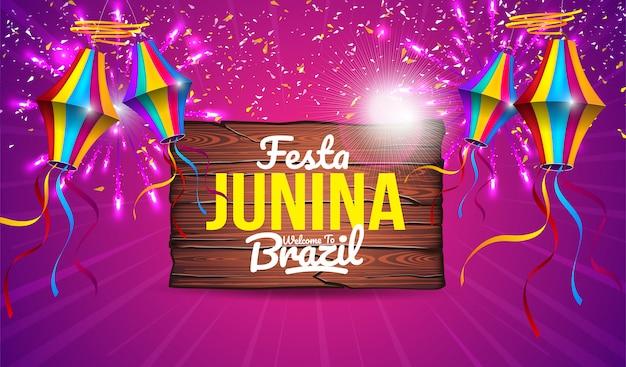 Conception de bannière colorée festa junina