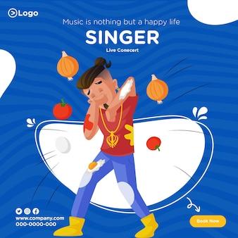 Conception de bannière de concert en direct de chanteur