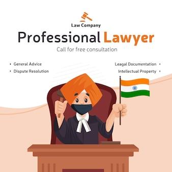 Conception de bannière de consultation gratuite pour un avocat professionnel avec un avocat punjabi assis sur une chaise