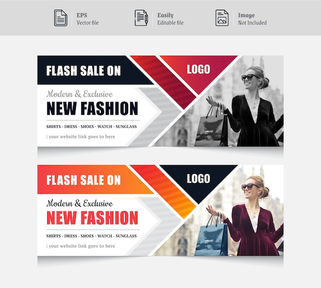 Conception de bannière de couverture de médias sociaux colorée pour la mode