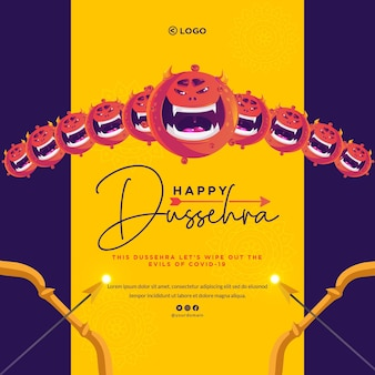 Conception de bannière créative du modèle de festival indien happy dussehra