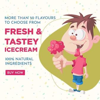 Conception de bannière de crème glacée fraîche et savoureuse