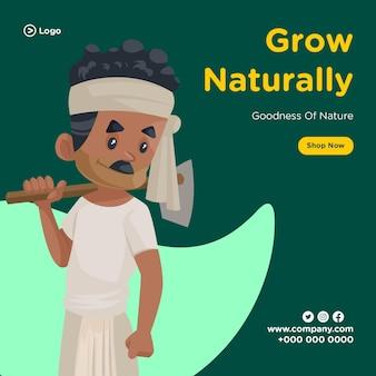 Conception de bannière de croissance naturelle et de bonté de la nature