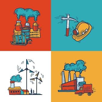 Conception de bannière de croquis industriel