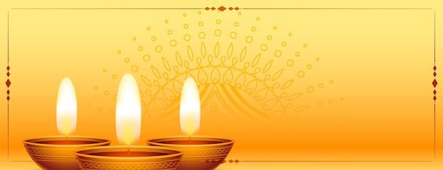 Conception de bannière décorative de diwali heureux réaliste brillant