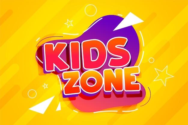 Conception de bannière de dessin animé de zone pour enfants