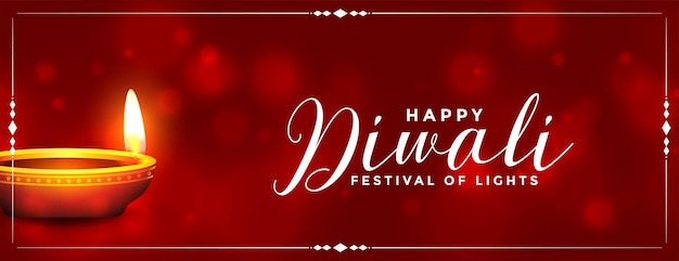 Conception de bannière diya réaliste brillant heureux diwali