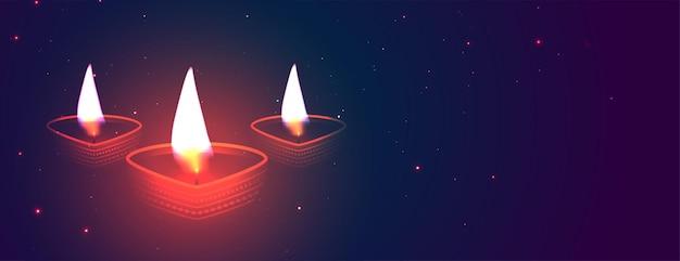 Conception de bannière diya rougeoyante de diwali