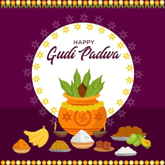 Conception de bannière du festival du nouvel an indien gudi padwa