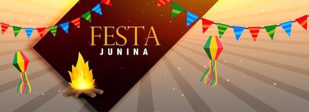 Conception de la bannière du festival festa junina au brésil