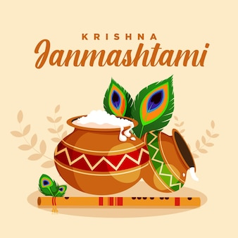 Conception de bannière du festival indien krishna janmashtami illustration de style dessin animé