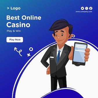 Conception de bannière du meilleur casino en ligne en style cartoon
