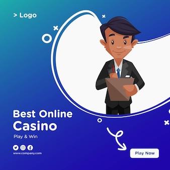 Conception de bannière du meilleur style de dessin animé de casino en ligne