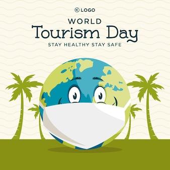 Conception de bannière du modèle de la journée mondiale du tourisme