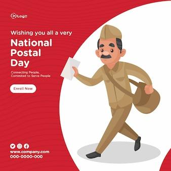 Conception de bannière du modèle de style de dessin animé du service de la journée postale nationale