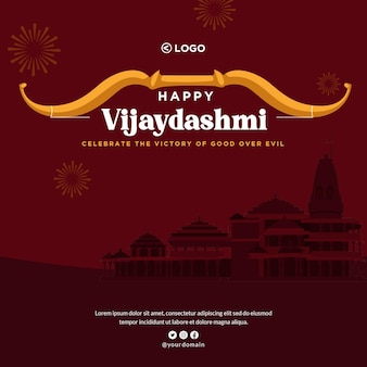 Conception de bannière du modèle de style de dessin animé happy vijaydashami