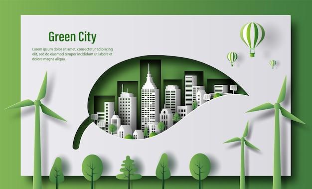 Conception d'une bannière écologique en forme de feuille avec une ville verte