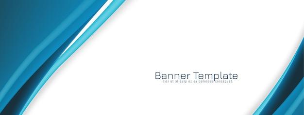 Conception de bannière élégante concept vague bleue
