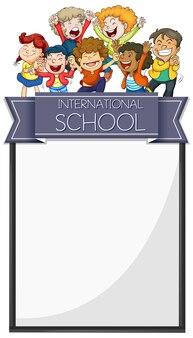 Conception de bannière avec des enfants d'une école internationale