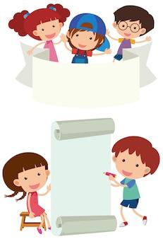 Conception de bannière avec des enfants heureux