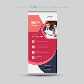 Conception de bannière enroulée, bannière debout, signalisation verticale, conception d'affiche d'affichage