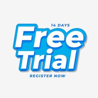 Conception de bannière d'essai gratuite de 14 jours