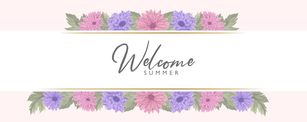 Conception de bannière d'été avec une belle fleur de chrysanthème