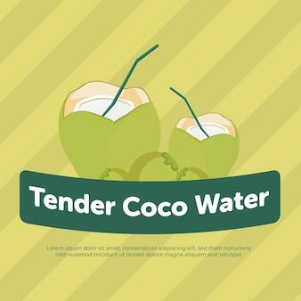Conception de bannière d'été d'eau de coco tendre