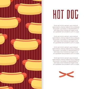 Conception de bannière de fast-food avec hot-dogs et saucisses
