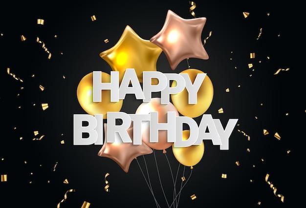 Conception de bannière de félicitations de joyeux anniversaire avec des confettis, des ballons et un ruban brillant de paillettes pour le fond de vacances de partie. illustration