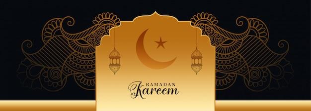 Conception de bannière de festival décoratif ramadan kareem doré