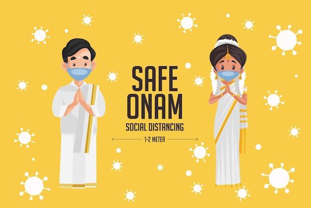 Conception de bannière de festival de distanciation sociale safe onam