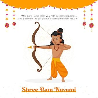 Conception de bannière de festival indien shree ram navami