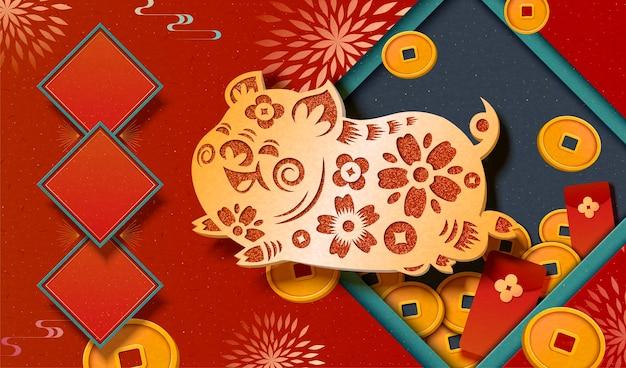 Conception de bannière de festival de printemps avec cochon découpé en papier doré, pièces de monnaie porte-bonheur et décorations d'enveloppe rouge
