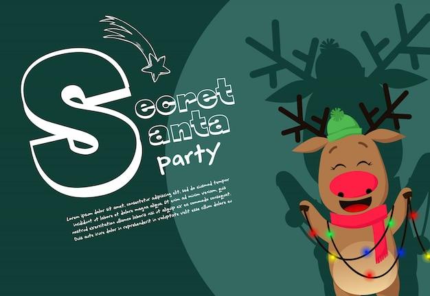 Conception de bannière de fête secrète santa avec cerf à nez rouge au chapeau