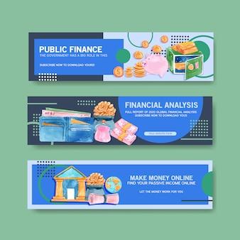 Conception de bannière de finances avec illustration aquarelle de monnaie, affaires, banques et affaires.