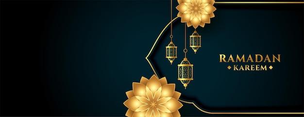 Conception de bannière de fleur et de lanterne dorée de ramadan kareem